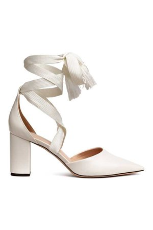 Court shoes with ties - White - Ladies | H&M US