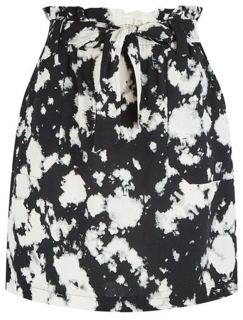 Black Tie Dye Print Waist Mini Skirt