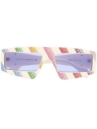 Gucci Eyewear Rainbow Rhinestone Striped Sunglasses - Farfetch