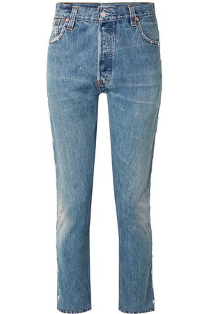 RE/DONE | + Levi's distressed studded high-rise skinny jeans | NET-A-PORTER.COM