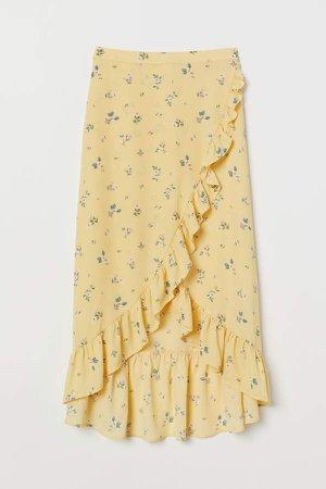 Flounced Wrap-front Skirt - Yellow