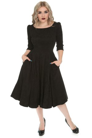Wendy Black Faux Suede Dress by Hearts & Roses | Ladies