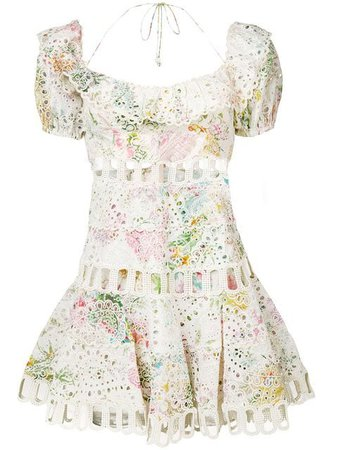 Zimmermann Embroidered Floral Print Dress - Farfetch