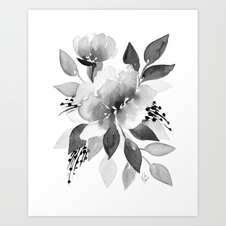 watercolor flower gray - Google Search