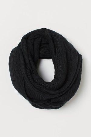 Knit Tube Scarf - Black