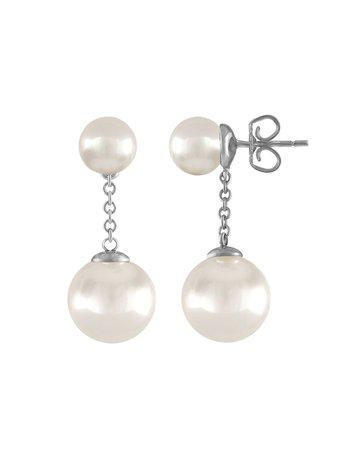 Majorica Simulated Pearl Chain-Drop Earrings | Neiman Marcus