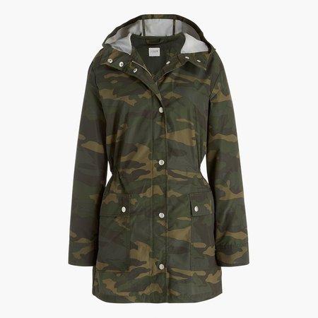 Camo midi-length raincoat with snaps