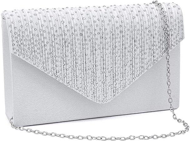 Milisente Evening Bag for Women, Glitter Rhinestone Wedding Evening Purse Crystal Envelope Crossbody Shoulder Clutch Bags (White): Handbags: Amazon.com