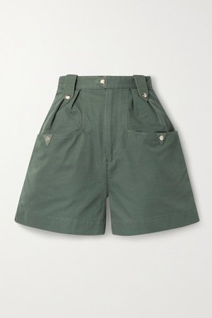 Palino Suede-trimmed Cotton Shorts - Army green