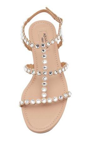 Tequila Crystal-Embellished Leather Sandals By Aquazzura   Moda Operandi