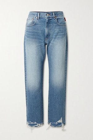 Distressed Boyfriend Jeans - Mid denim