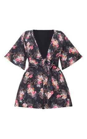 Plus Black Floral Tie Waist Playsuit | PrettyLittleThing