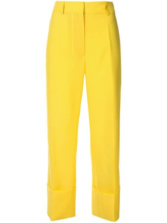 Shop yellow Rochas wide leg cropped trousers with Express Delivery - Farfetch