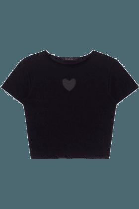 Heart Cut Out Crop Top Black