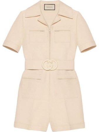 Gucci Wool Silk Short Belted Jumpsuit - Farfetch
