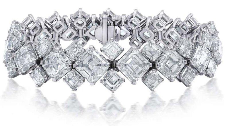 87.70 Carat GIA Certified Asscher Cut Diamond Platinum Bracelet For Sale at 1stDibs
