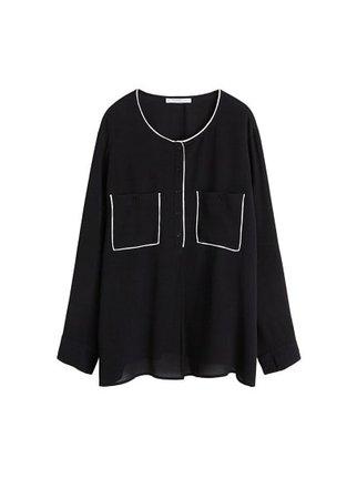 Violeta BY MANGO Contrast trim blouse