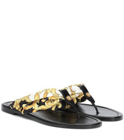 Fabric and leather sandals