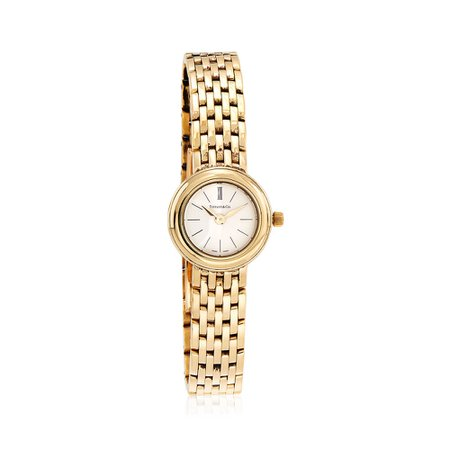 C. 1990 Vintage Tiffany Jewelry Women's 21mm 18kt Yellow Gold Watch. Size 7 | Sidney Thomas