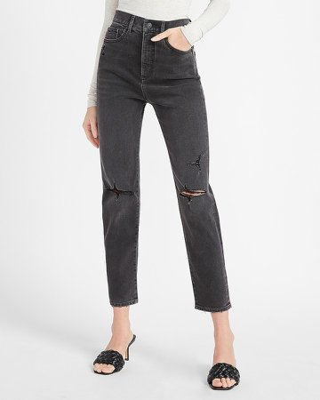 Super High Waisted Black Ripped Slim Jeans