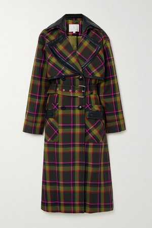 Belted Double-breasted Leather-trimmed Checked Wool Coat - Dark green