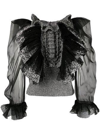 Alberta Ferretti Ruffled sheer-sleeve Blouse - Farfetch