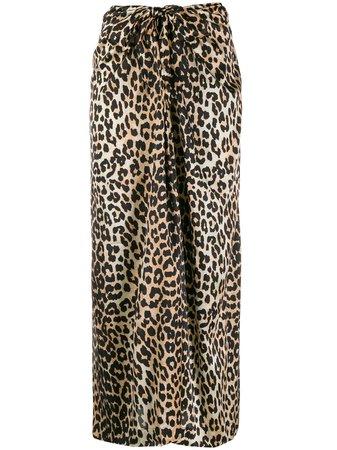 GANNI Leopard Print Tie Midi Skirt - Farfetch