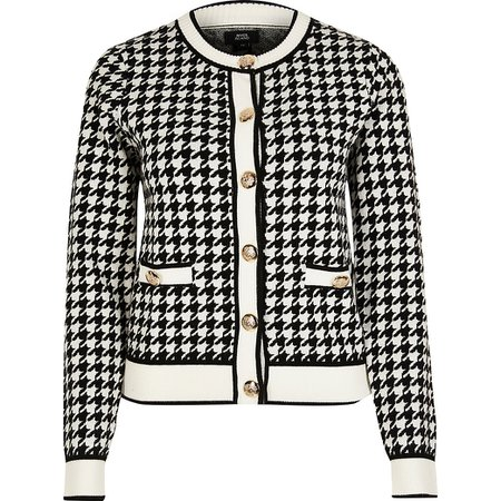 Black houndstooth gold accents buttons detail cardigan   River Island