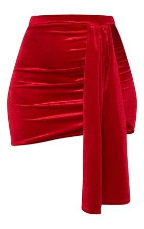 Red Ruched Velvet Skirt | Skirts | PrettyLittleThing USA