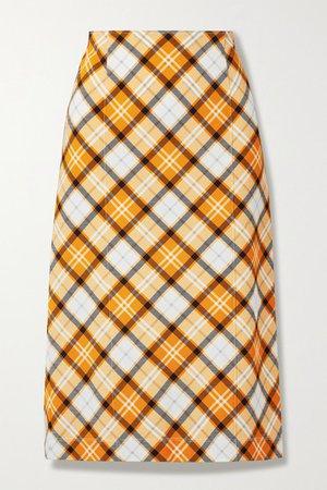 Checked Stretch-jersey Skirt - Orange