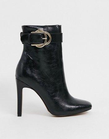 ASOS DESIGN Envy high ankle buckle boots in black | ASOS