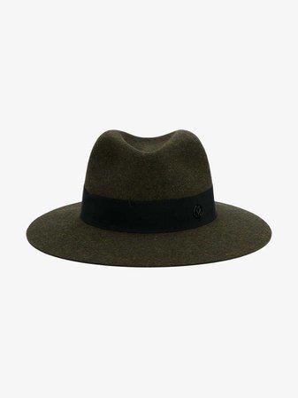 Maison Michel Military Green Henrietta Fedora hat | Hats | Browns
