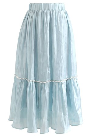 Shimmer Satin Pearly Midi Skirt in Blue - Retro, Indie and Unique Fashion