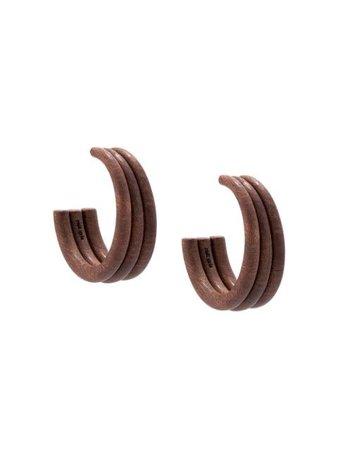 Cult Gaia Tripple Hoop Earrings 30052WD Brown | Farfetch