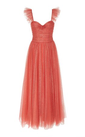 Monique Lhuillier Ruched Glittered Tulle Gown