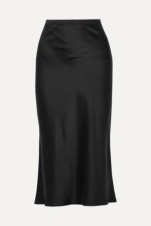 Black Bar silk-satin midi skirt | Anine Bing | NET-A-PORTER
