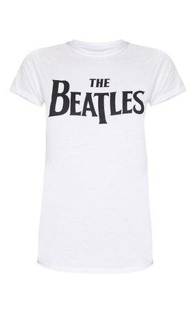 White The Beatles Slogan T Shirt | Tops | PrettyLittleThing