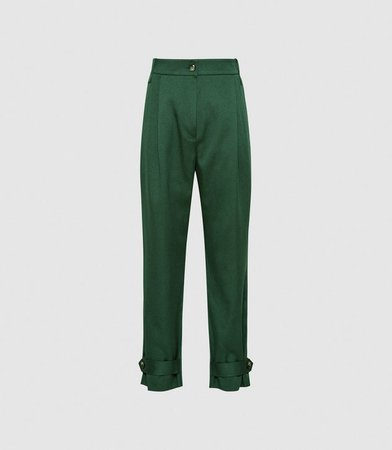 Duke Green Pleat Front Tapered Trousers – REISS