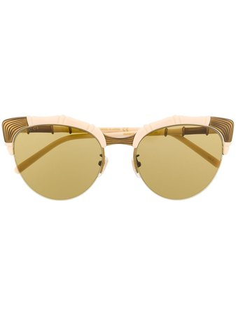 Gucci Eyewear bamboo-effect oval-frame Sunglasses - Farfetch