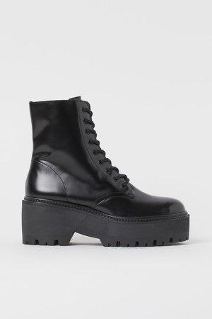Leather Platform Boots - Black