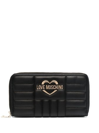 Love Moschino Logo Plaque Quilted Wallet - Farfetch
