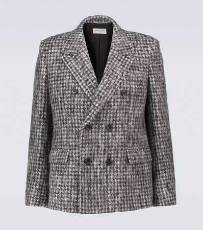 Saint Laurent, Checked double-breasted blazer