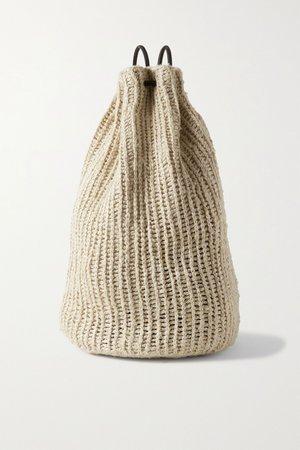 Ecru Massimo leather-trimmed raffia backpack | The Row | NET-A-PORTER