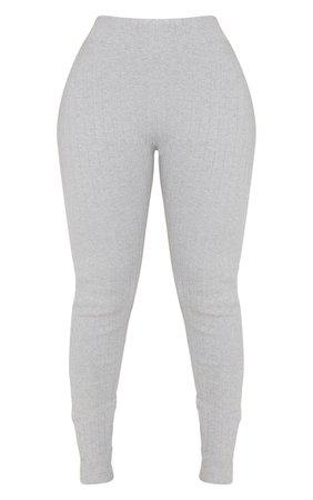 Shape Grey Rib High Waist Leggings | Curve | PrettyLittleThing