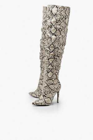 Snake Rouched Knee High Boots | Boohoo