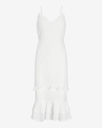 Eyelet Lace Tiered Ruffle Midi Dress   Express