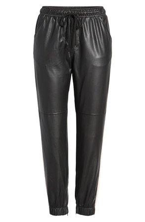 David Lerner Side Stripe Faux Leather Jogger Pants | Nordstrom