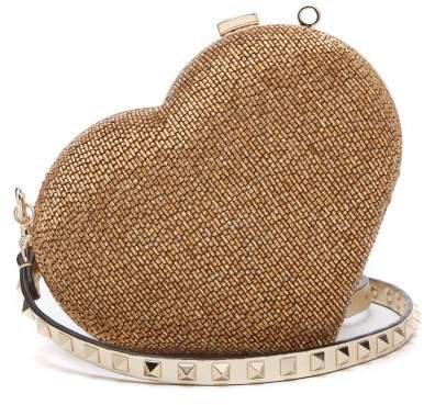 Carry Secrets Bead Embellished Heart Clutch - Womens - Gold
