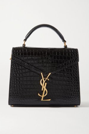 Cassandra Mini Croc-effect Leather Tote - Black