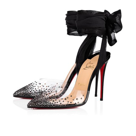 Clear pointed toe pump with rhinestones and black bow